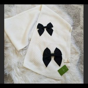 NWT Kate Spade Diagonal Cream/Black Bow Scarf